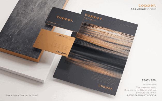Modern Copper Branding Mockup Template