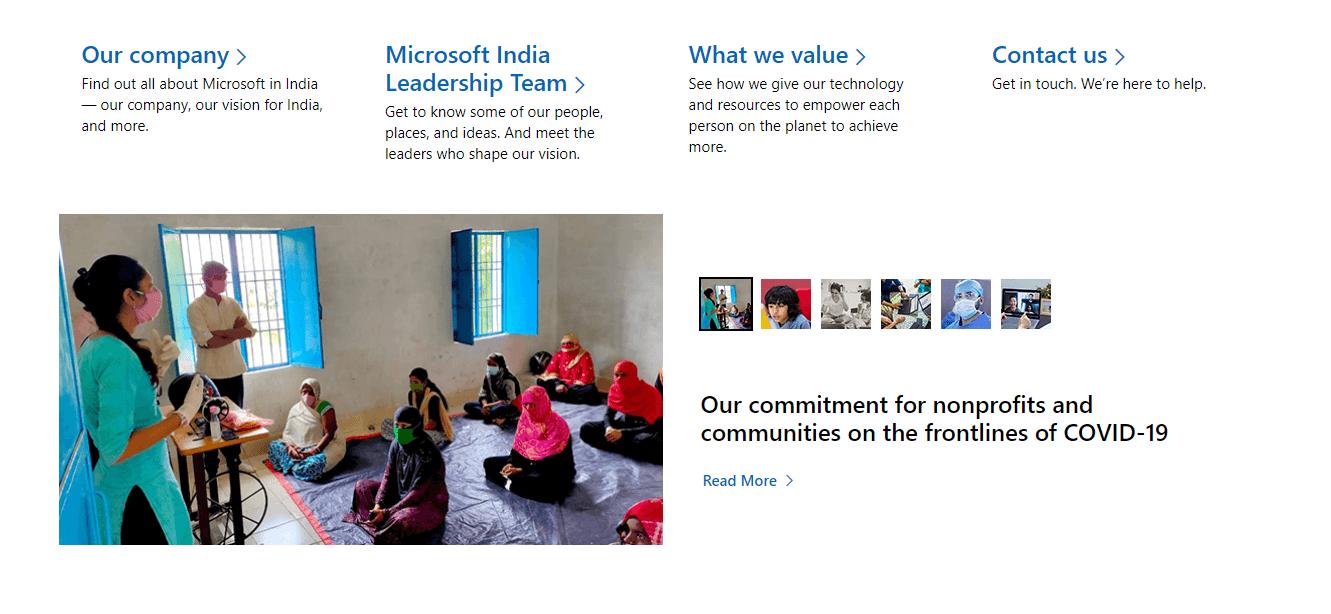 Microsoft About Us Page